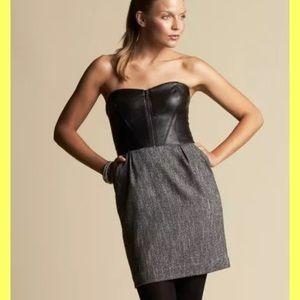 BEBE Dress 4 BLACK GRAY LEATHER BUSTIER CORSET